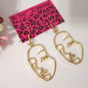 Betsy Johnson Face Gold Dangle Women's Earrings